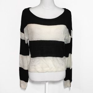 NWOT Black White Stripe Thick Knit Sweater Top New